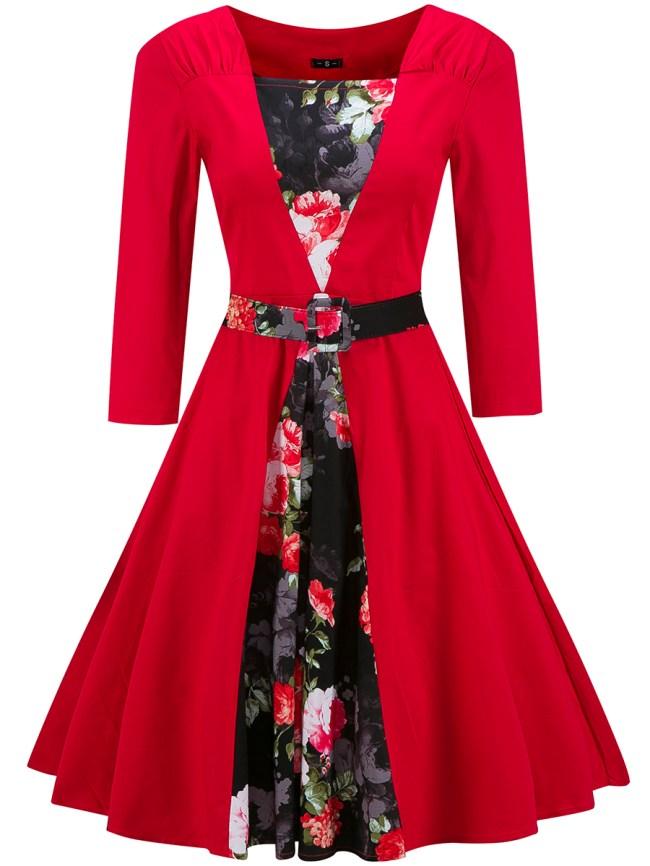 Fashionmia Square Neck Floral Printed Belt Skater Dress