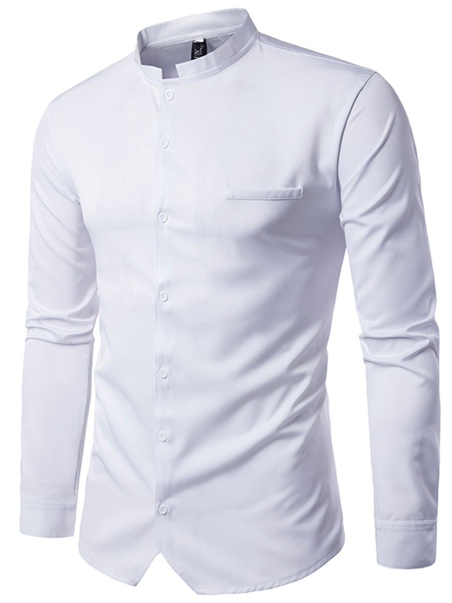Band Collar Plain Cuffed Sleeve Long Sleeve Long Sleeves