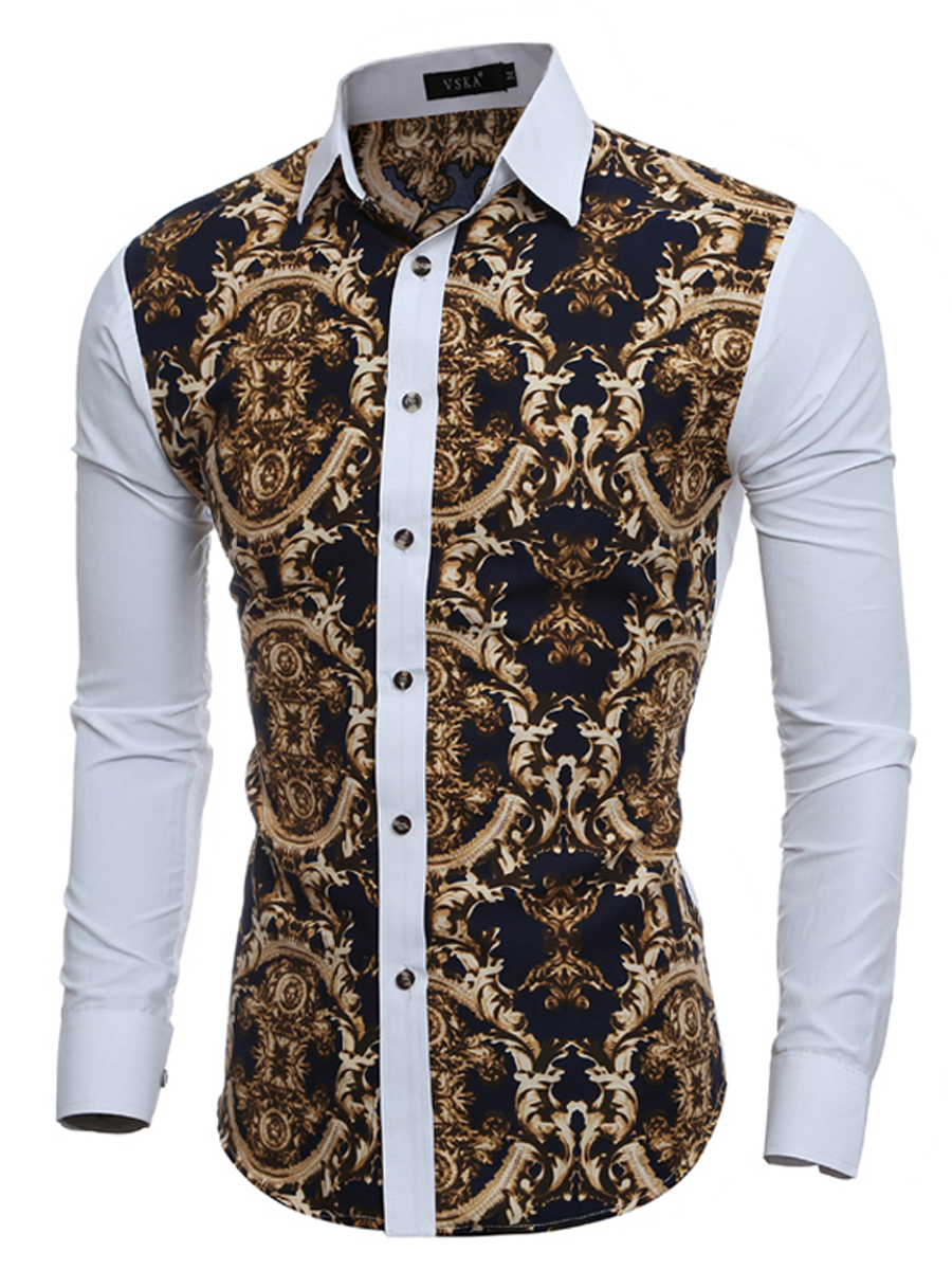 Turn Down Collar Single Breasted Printed Cuffed Sleeve Long Sleeve Long Sleeves