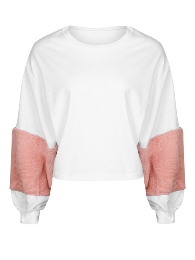 Fashionmia Round Neck Patchwork Color Block Sweatshirts