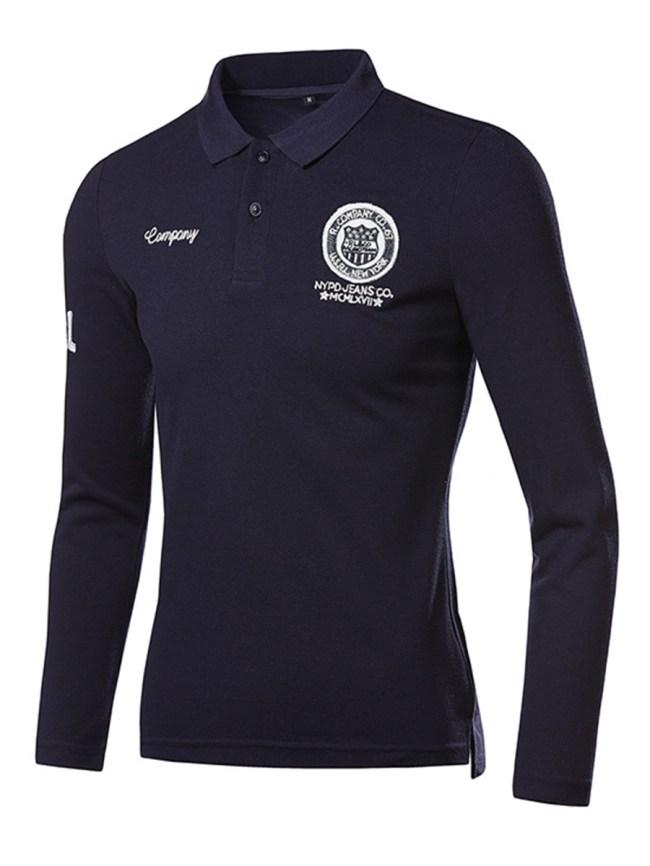 Fashionmia Casual Men Polo Collar Badge T-Shirt