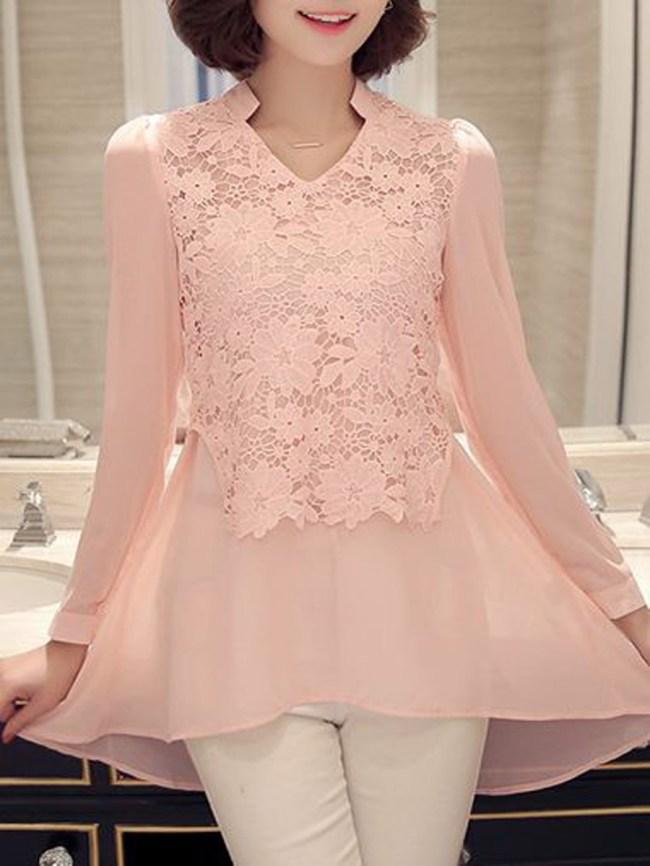 Fashionmia V-Neck Decorative Lace Patchwork Plain Long Sleeve Blouses
