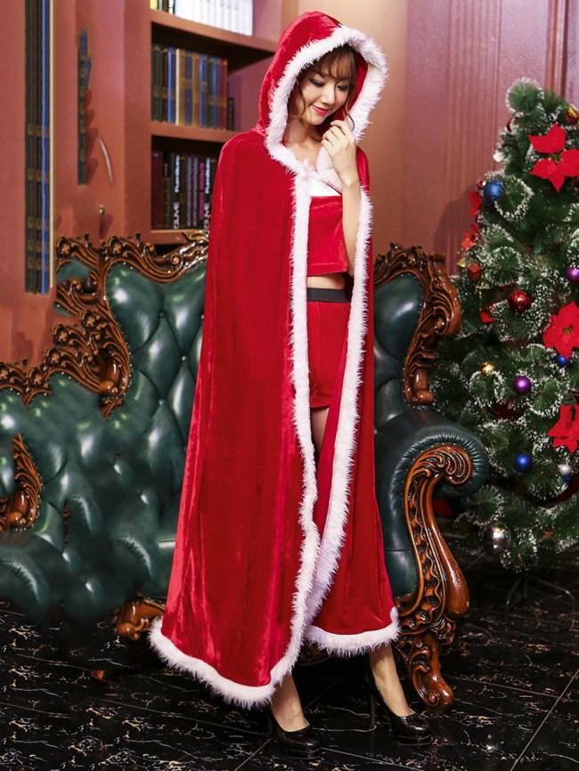 Fashionmia Christmas Hooded Contrast Trim Long Cape