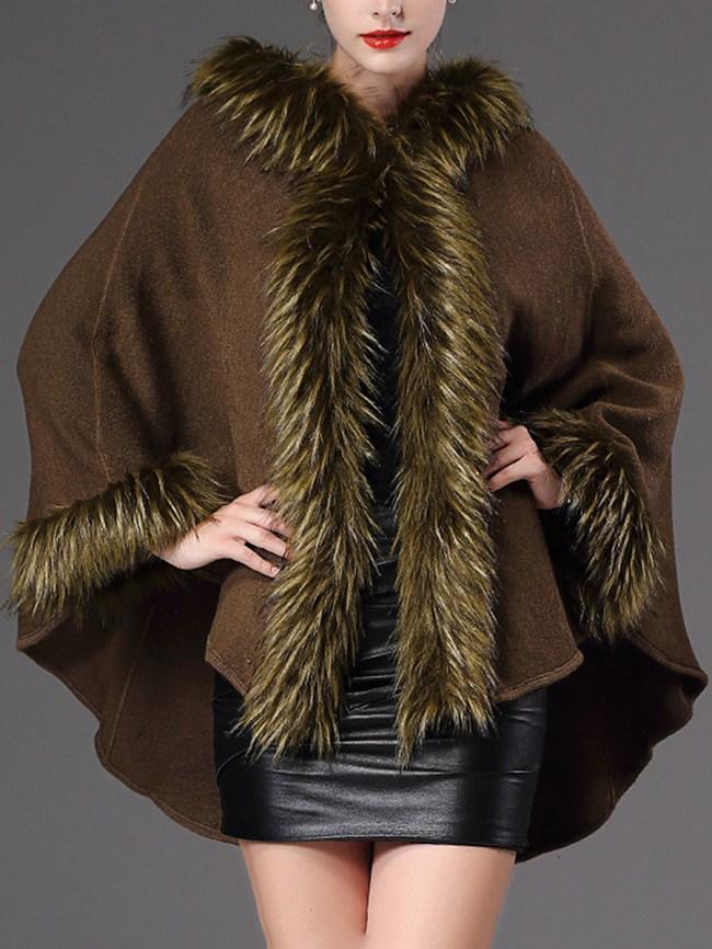 Fashionmia Hooded Plain Faux Fur Trim Knitted Cape