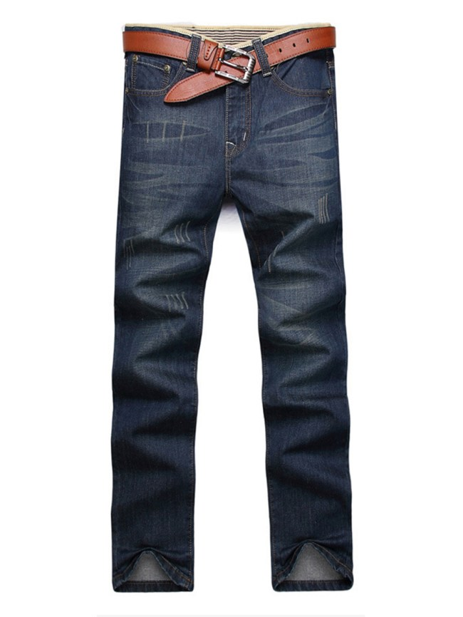 Fashionmia Ripped Patch Pocket Straight Men's Jeans