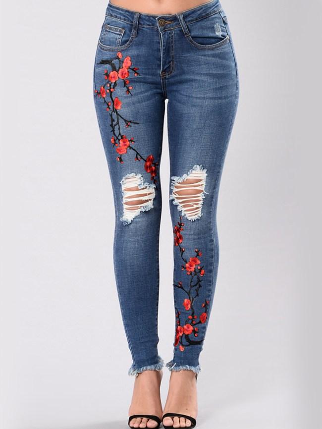 Fashionmia Distressed Embroidery Raw-Hem Slim-Leg Jeans