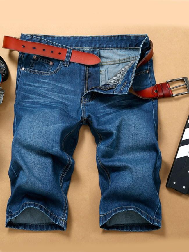 Fashionmia Basic Whiskered Light Wash Men's Midi Jeans