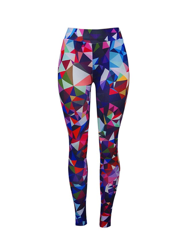 Fashionmia Color Block Geometric Mid-Rise Legging