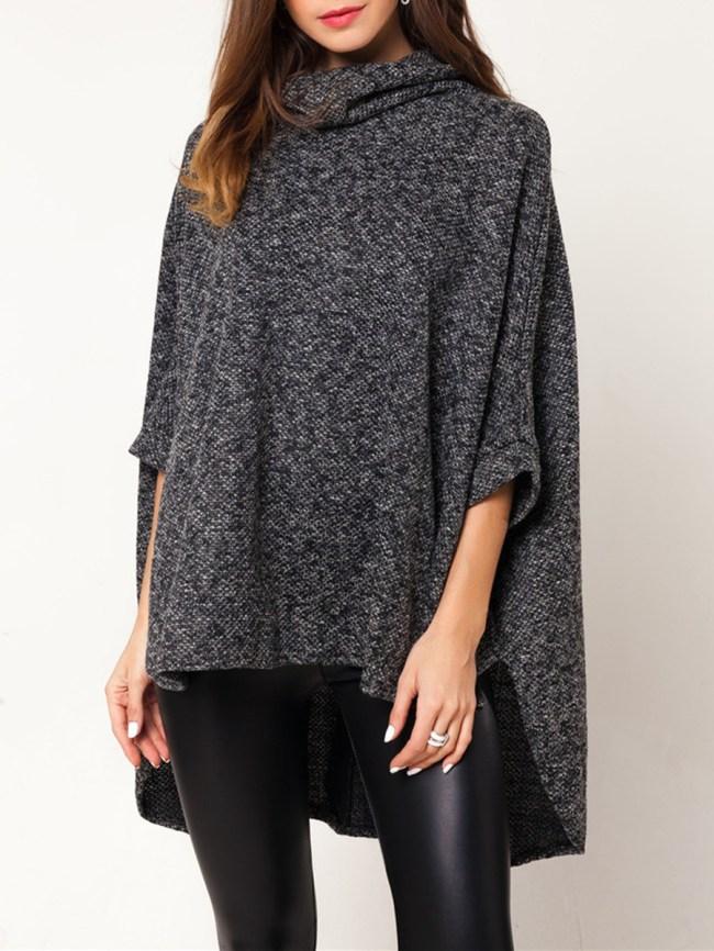 Fashionmia Cowl Neck High-Low Cape