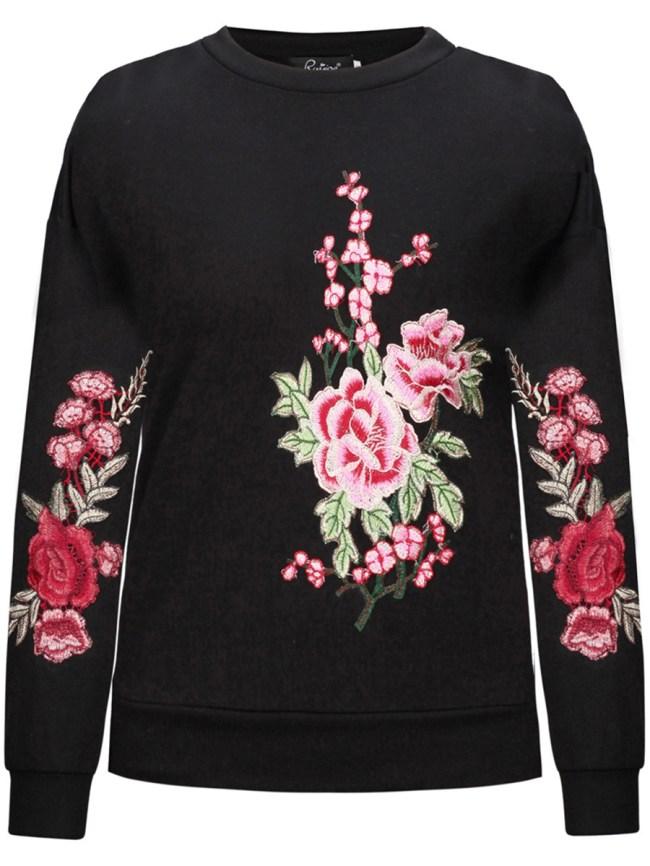 Fashionmia Crew Neck Embroidery Patch Sweatshirt
