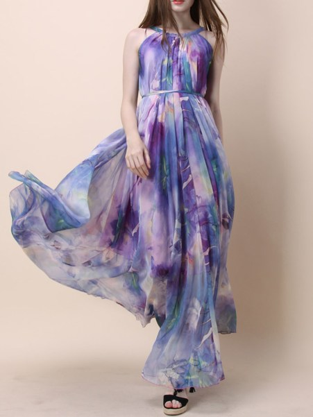 Fashionmia Crew Neck  Belt  Printed Maxi Dress
