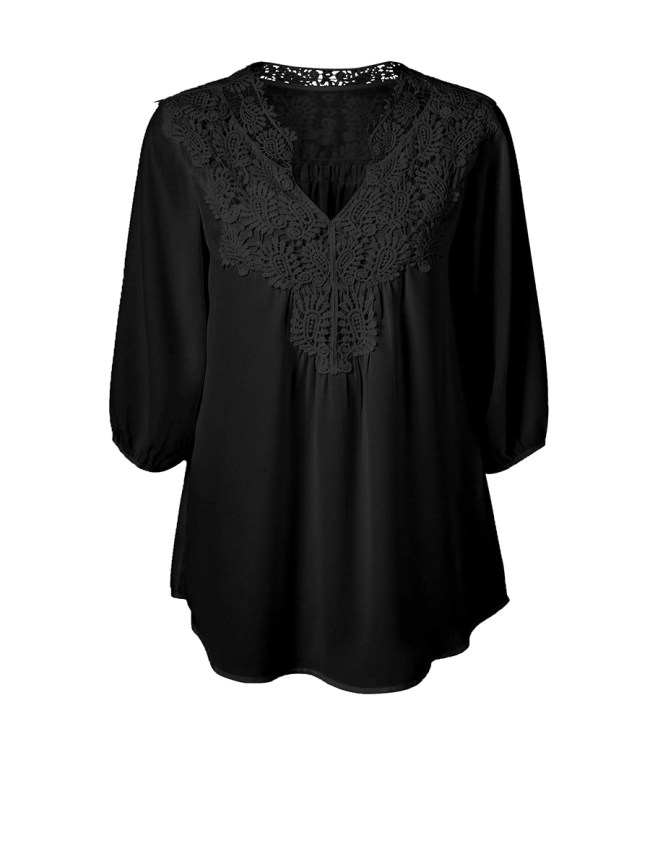 Fashionmia V-Neck Brief Decorative Lace Plain Plus Size Blouse