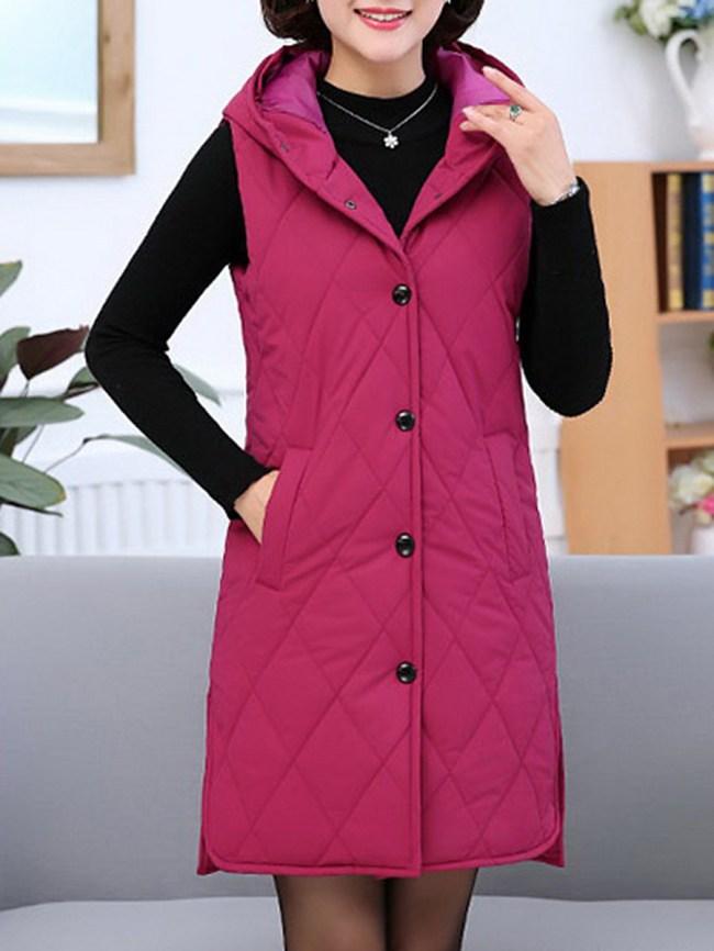Fashionmia Hooded Single Breasted Plain Sleeveless Waistcoat