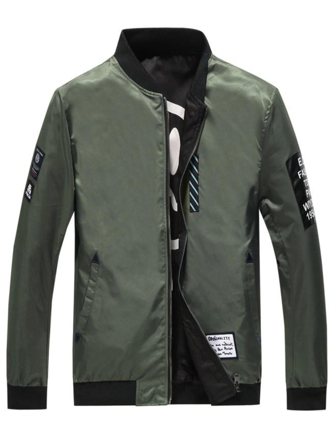 Fashionmia Band Collar Decorative Patch Men Bomber Jacket