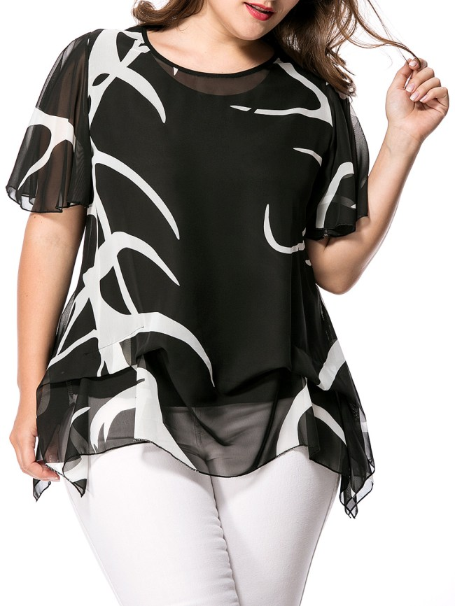 Fashionmia Asymmetric Hem Hollow Out Printed Cape Sleeve Plus Size Blouse