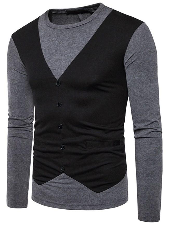 Fashionmia Round Neck Men Color Block T-Shirt