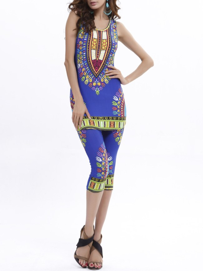 Fashionmia Fitted Sleeveless Tribal Printed T-Shirt And Midi Pant