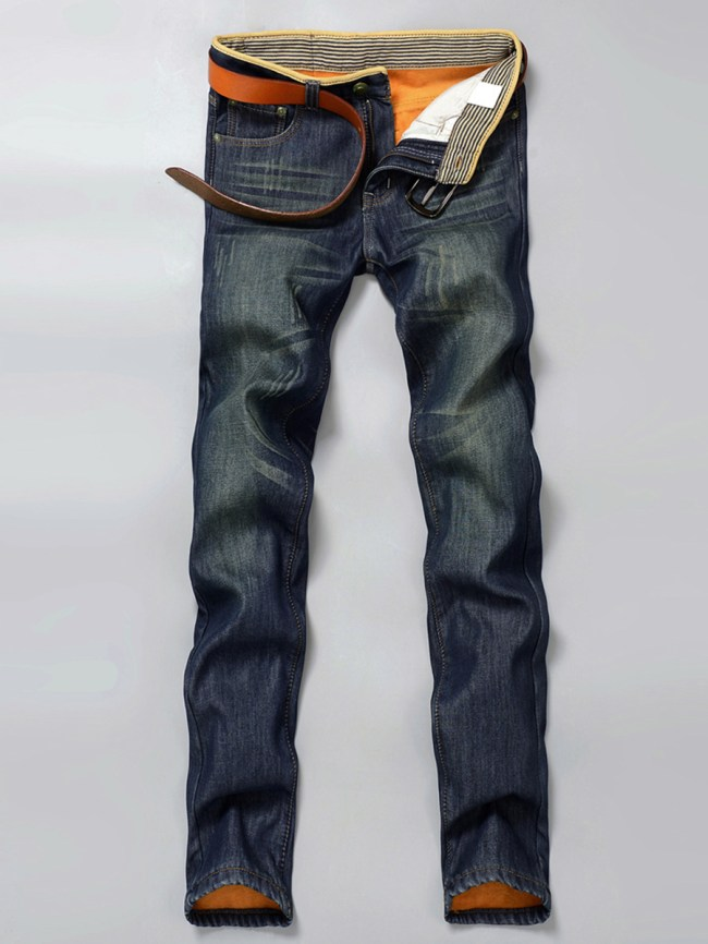 Fashionmia Light Wash Fleece Lined Straight Men's Jeans