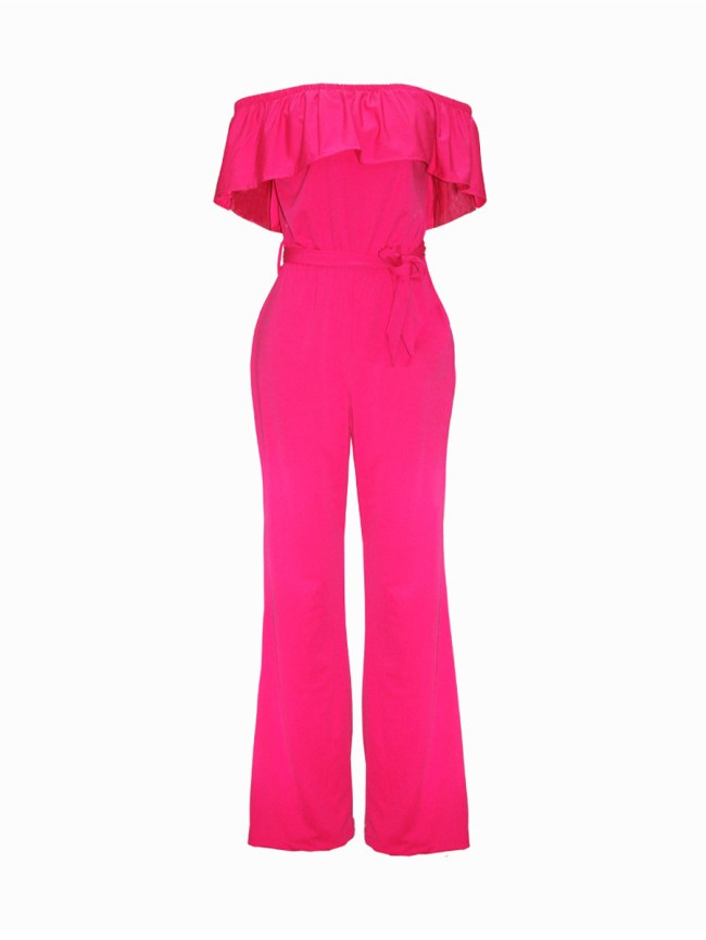 Fashionmia Off Shoulder Flounce Plain Wide-Leg Jumpsuit