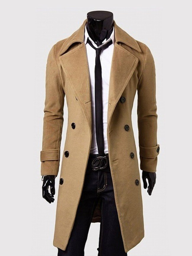 Fashionmia Office Lapel Double Breasted Plain Men Coat