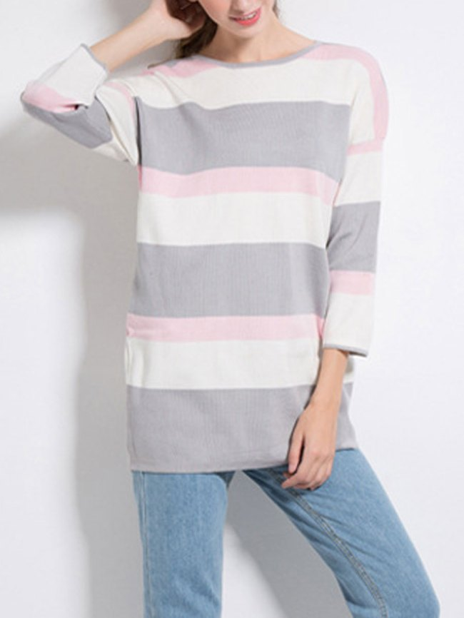 Fashionmia Round Neck Striped Three-Quarter Sleeve Pullover