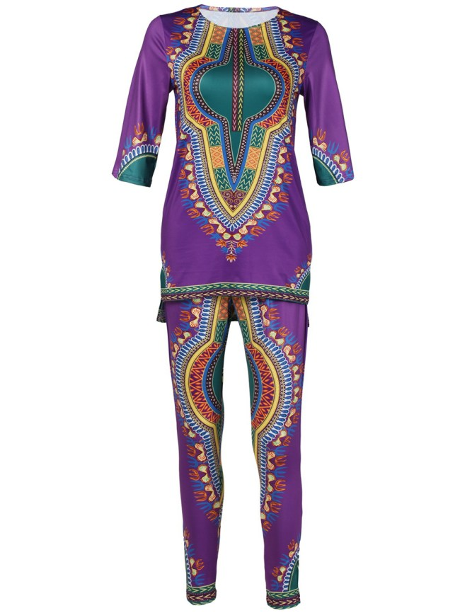 Fashionmia Round Neck Tribal Printed Top And Slim-Leg Pant