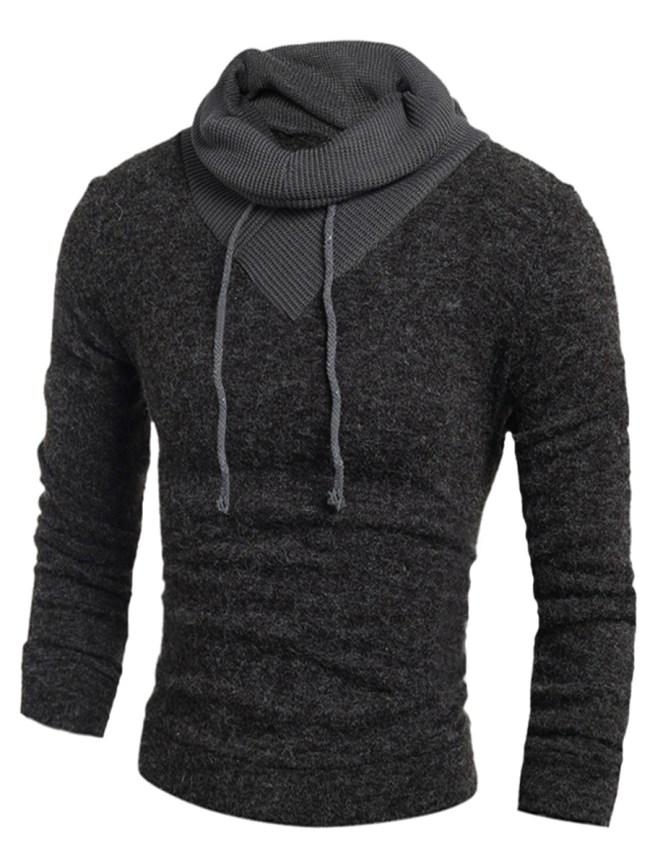 Fashionmia Turtleneck Men Color Block Knitted T-Shirt