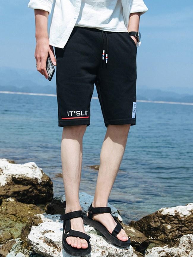 Fashionmia Drawstring Elastic Waist Pocket Letters Men's Shorts