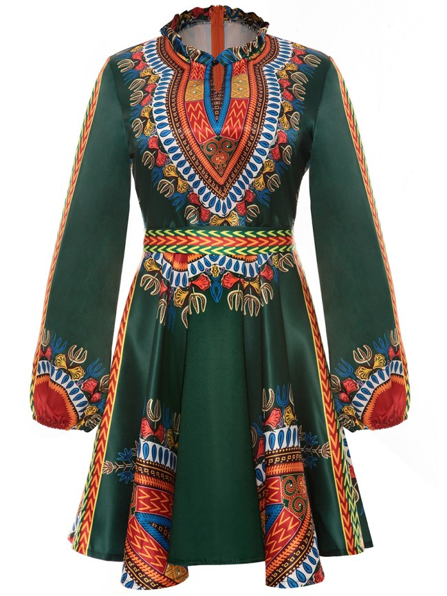 Fashionmia Band Collar Tribal Printed Plus Size Flared Dress