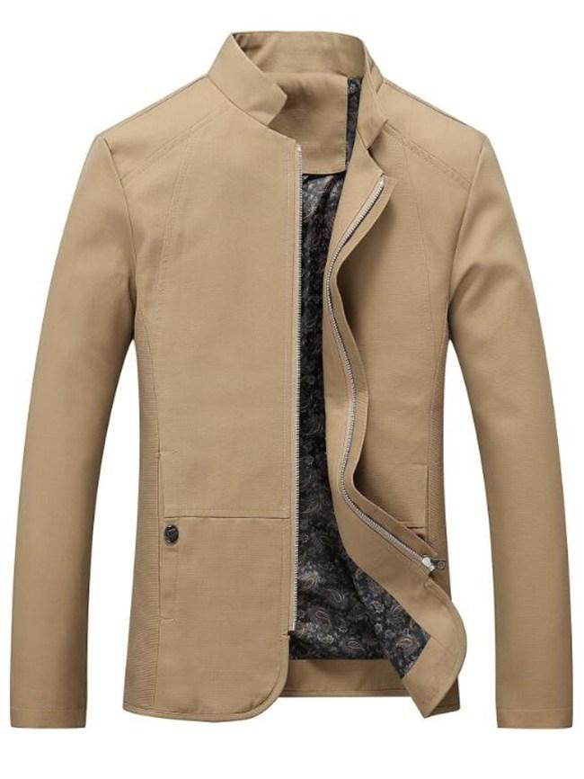 Fashionmia Men Band Collar Solid Pocket Jacket