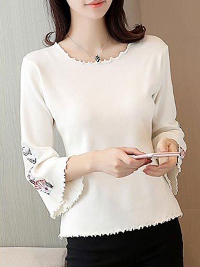 Fashionmia Round Neck Embroidery Plain Three-Quarter Sleeve Sweaters Pullover