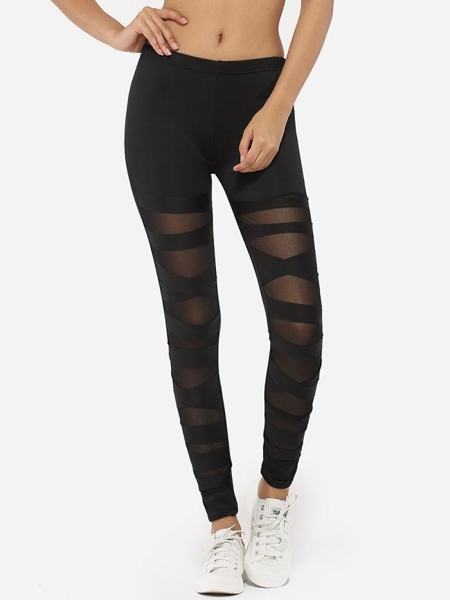 Fashionmia Cross Straps Dacron Gauze Patchwork Plain Leggings