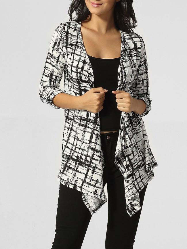 Fashionmia Collarless Asymmetrical Hems Plaid Cardigan