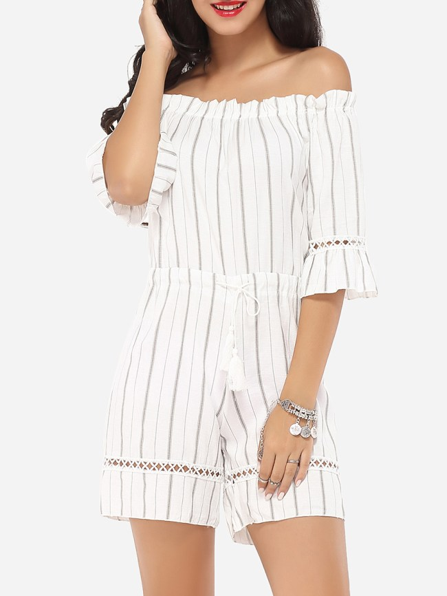 Fashionmia Embossed Design Dacron Striped Rompers