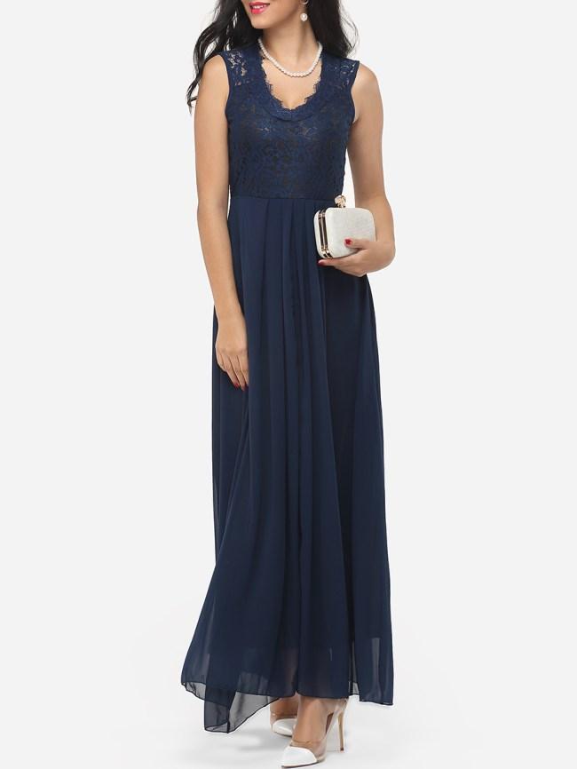 Fashionmia Zips V Neck Dacron Hollow Out Lace Patchwork Plain Evening Dress