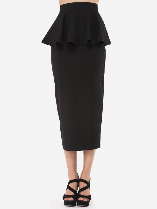 Fashionmia Plain Falbala Zips Elegant Brilliant Maxi-skirt