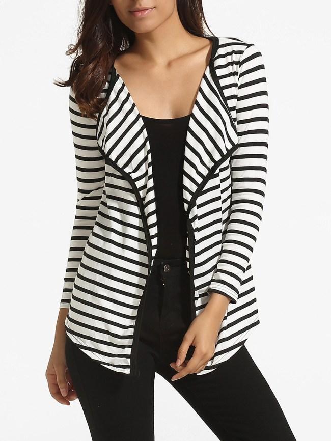 Fashionmia Lapel Knit Striped Cardigan