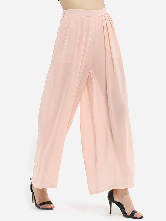 Fashionmia Hollow Out Plain Wide-Leg Casual Pant