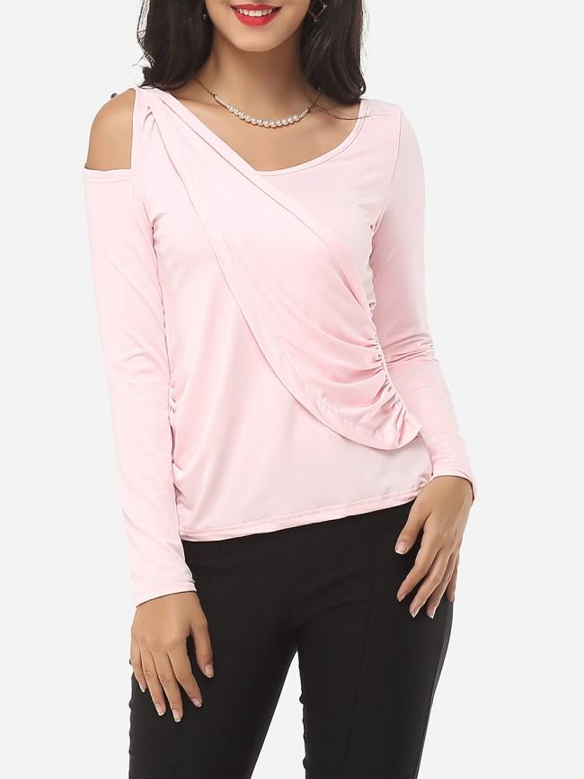 Fashionmia Autumn Spring Polyester Women Surplice Plain Long Sleeve T-Shirts