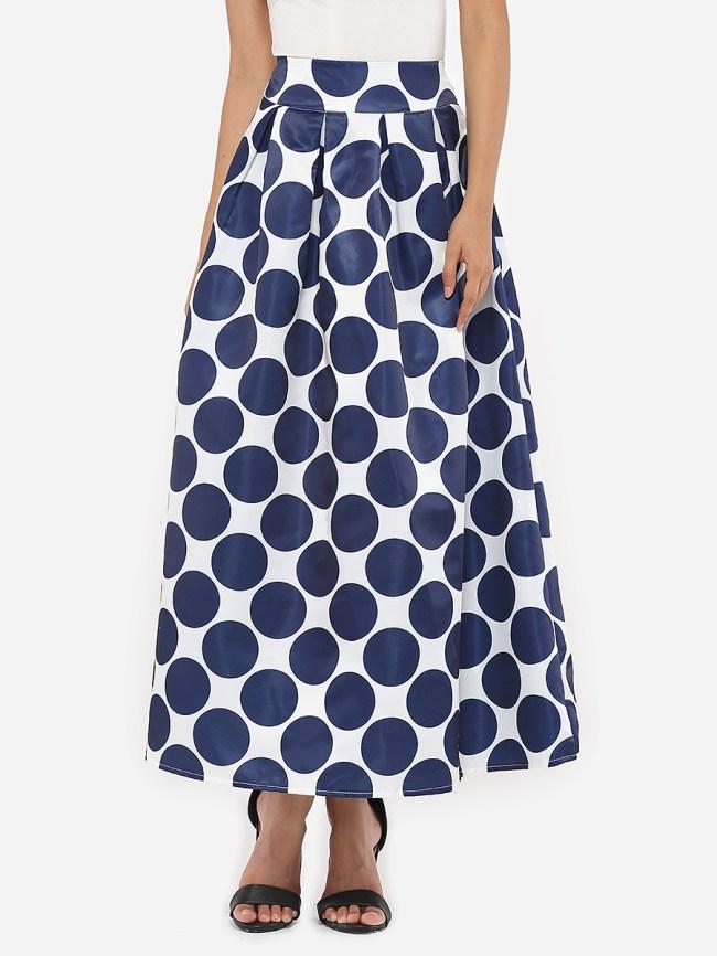 Fashionmia Dacron Polka Dot Printed Maxi-skirt