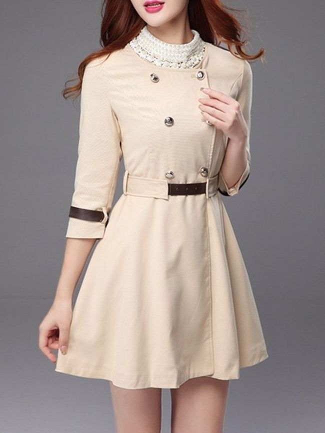 Fashionmia Breasted Chic Round Neck Trench Coats