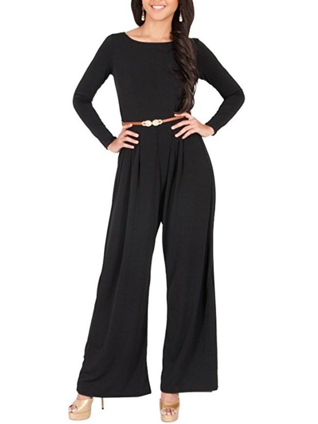 Fashionmia Round Neck Belt Plain Wide-Leg Jumpsuit