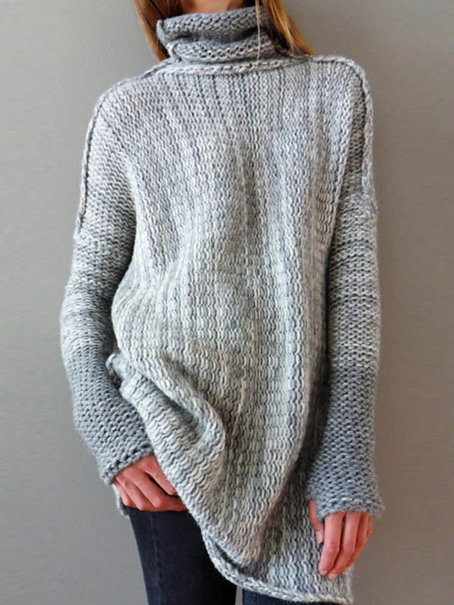 Fashionmia Turtleneck Patchwork Gradient Long Sleeve Sweaters Pullover
