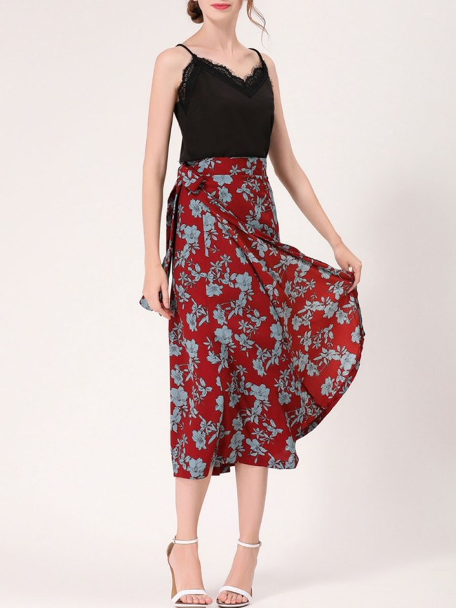 Fashionmia Fabulous Floral Printed Flared Maxi Skirt