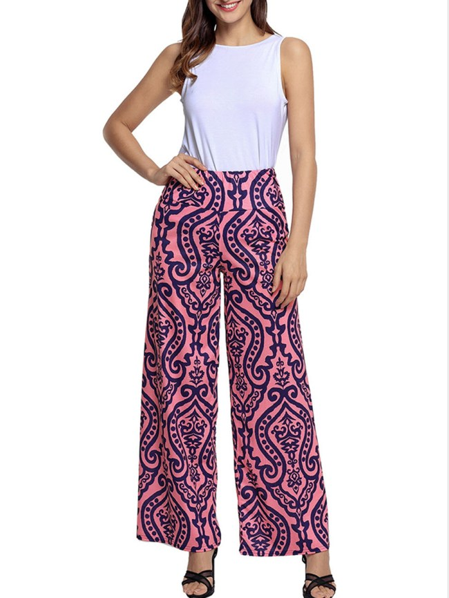 Fashionmia Unique Printed Wide-Leg High-Rise Casual Pants