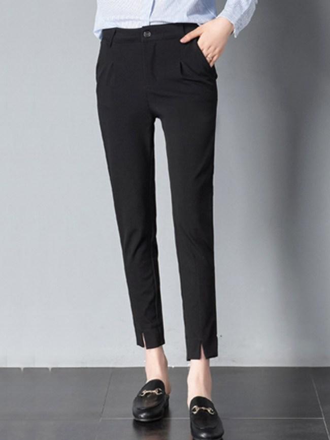 Fashionmia Plain Pocket Slim-Leg Slit Casual Pants