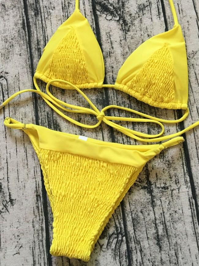 Fashionmia Pleated Solid-Color Bikini Swimsuit