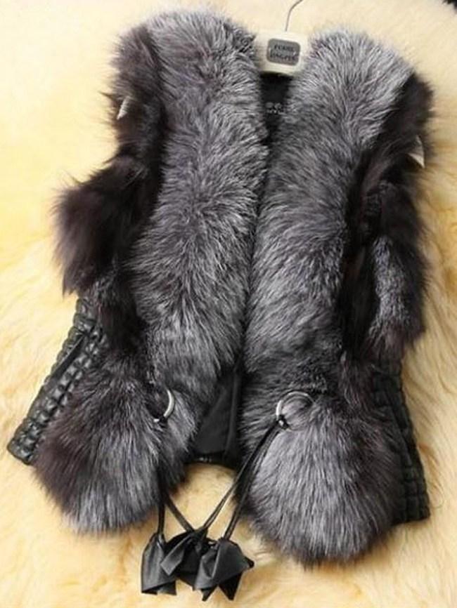 Fashionmia Faux Fur Collar Pocket PU Leather Plain Waistcoat