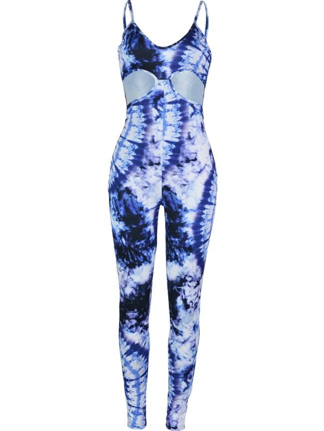 Fashionmia Cutout Tie/Dye Spaghetti Strap Slim-Leg Jumpsuit