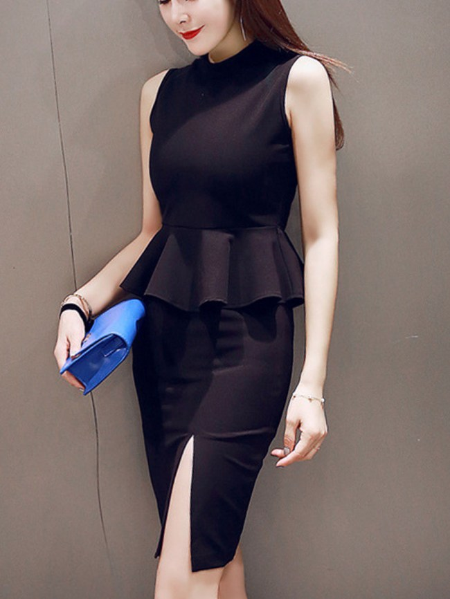 Fashionmia Solid Band Collar Peplum T-Shirt And Pencil Slit Skirt
